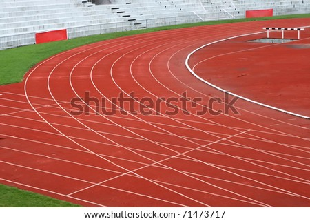 Curve of Race Track in Big Football Stadium