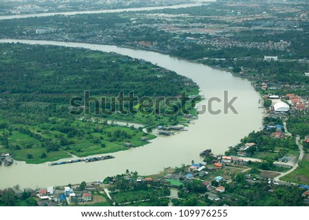 Curve of river near gulf of Thailand