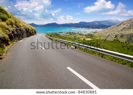 curve of road in mountain with Pollensa view in Mallorca balearic island - stock photo