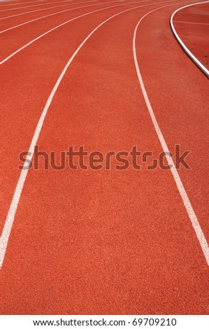Curve on a red running track