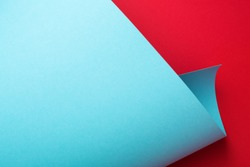 Curve paper texture, abstract geometric background. Art frame. Red and blue colors.