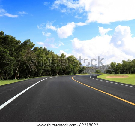 curve road and blue sky