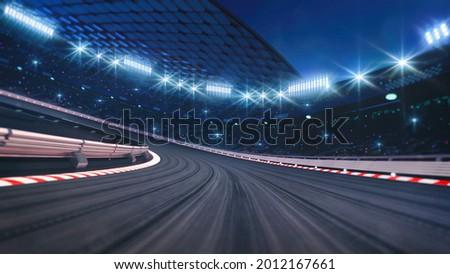 Curved asphalt racing track and illuminated race sport stadium at night. Professional digital 3d illustration of racing sports.