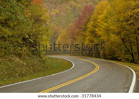 Curved Autumn Road In Virginia Mountains