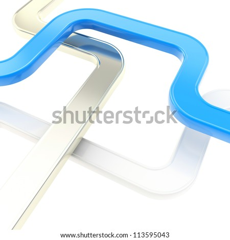 Curved blue and metal tube line copyspace backdrop as abstract technology background