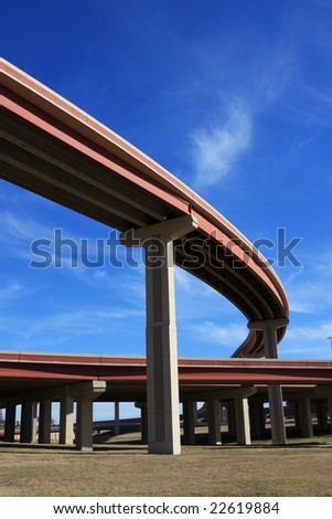 Curved bridge highway perspective
