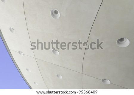 Curved Ceiling Of Outdoor Band Shell With Identical Round Recessed