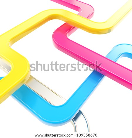 Curved cmyk colored glossy tube lines on white background as abstract technological backdrop