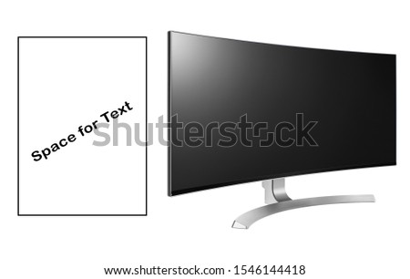 Curved Gaming Monitor Isolated. Slim Design Ultrawide 4K UHD 34 LED LCD Tele. Television with Blank Anti-Glare Display. Brand New Black Modern HD Widescreen Telly. Flat TV Monitor Screen Side View #1546144418