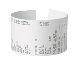 curved receipt, isolated on white background