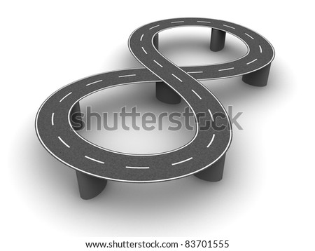 Curved road on supports as number eight
