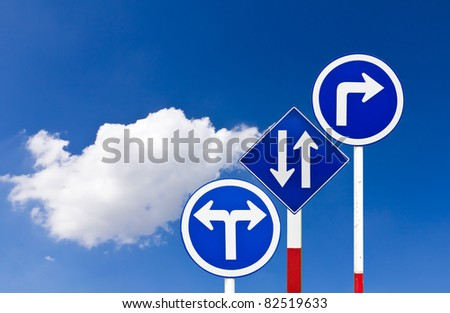 Curved Road Traffic Sign over blue sky,turn right