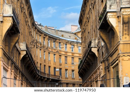 Curved shape of a historic apartment building residential architecture in Budapest, Hungary.