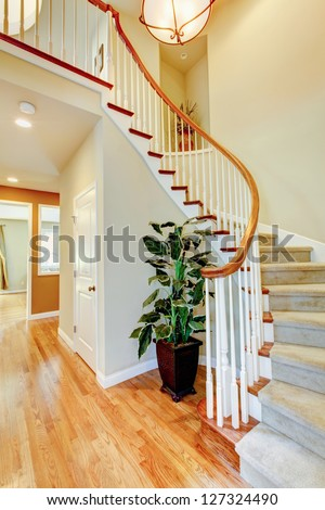 Curved staircase with hallway and hardwood floor. Home interior.
