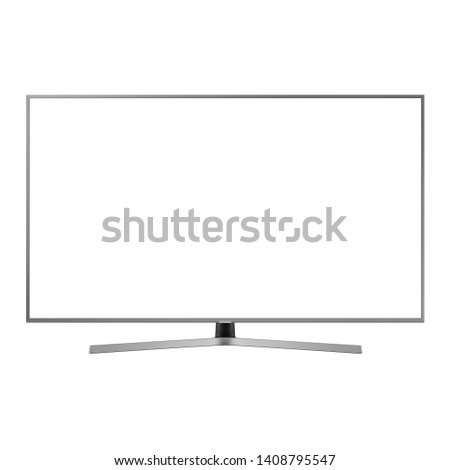 Curved TV Monitor Isolated on White. Black Slim Design Ultra HD 55 Inches LED Gaming Computer Monitor with Blank Anti-Glare Display Front View. Brand New Modern Widescreen Flat LCD Screen #1408795547