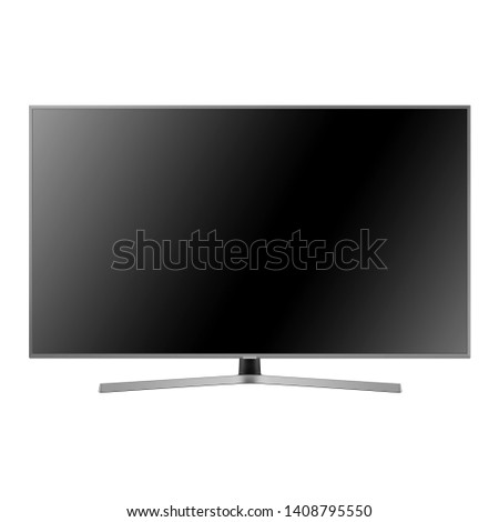Curved TV Monitor Isolated on White. Brand New Modern Widescreen Flat LCD Screen. Black Slim Design Ultra HD 55 Inches LED Gaming Computer Monitor with Blank Anti-Glare Display Front View #1408795550