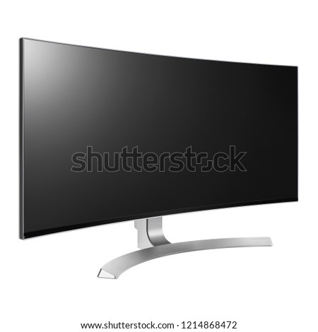 Curved TV Screen Isolated on White. Side View of Slim Design Ultrawide 4K UHD 34 LED LCD . Brand New Black Modern HD Widescreen Telly. Flat Monitor Screen Television with Blank Anti-Glare Display