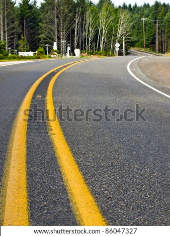 curved two lane country road...