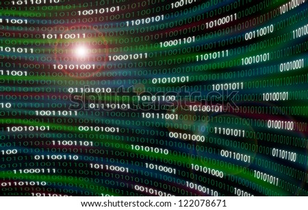 Curved wall of binary code with bytes highlighted and lens flare