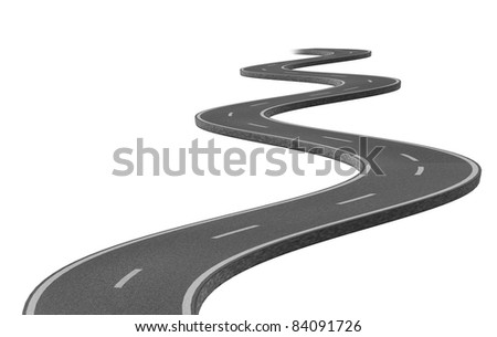 Curved winding asphalt road represented by a single highway on white ...