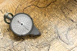 curvestor for measuring distances lying on an old vintage map