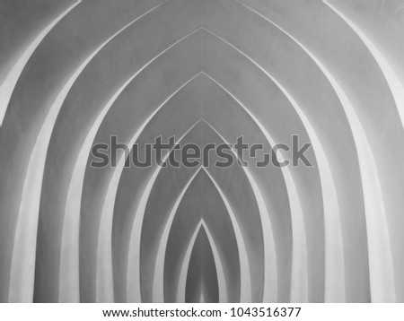 Curvilinear arch / niche / sitting places in black and white. Digitally reworked close-up photo of architectural fragment with stair-step structure. Abstract modern architecture / interior image