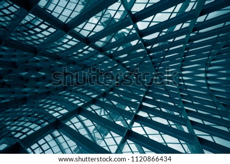Curvilinear grid structures. Metal framework with structural glazing. Double exposure photo of modern architecture fragment. Abstract industrial or architectural background in hi-tech style. #1120866434