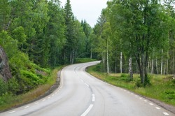 Curvy asphalted road ahead through dark green summer forest in south Sweden in July.