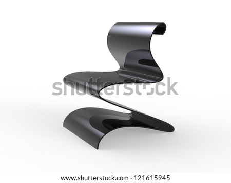 Curvy Metal chair isolated on a white background
