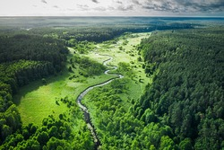 Curvy river and green forest at sunrise, aerial view of nature in Poland