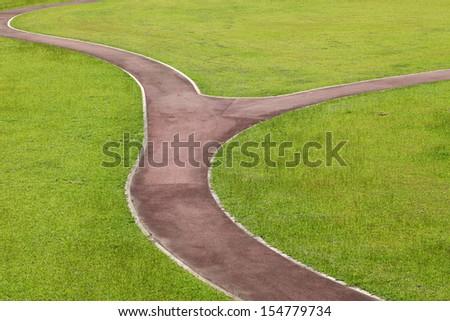 curvy walk way in public park