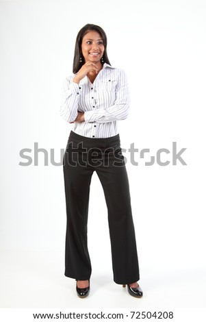 Curvy young black business woman standing in relaxed pose
