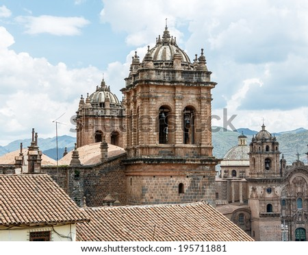 Cusco cathedral in Sacred Valley Peru UNESCO World Heritage Site