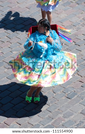 CUSCO, PERU - MAY 6: Festival Participants in Cusco's weekly (Sunday) parade in the Plaza de Armas on May 6, 2012