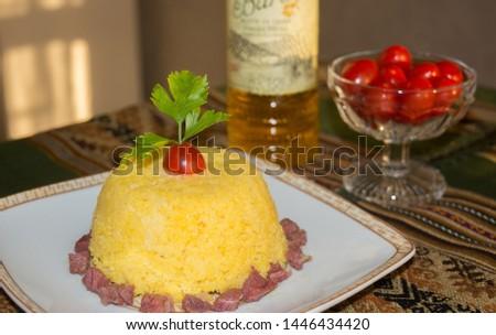 Cuscuz de milho para cafe da manha e jantar Foto stock ©
