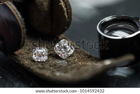 Cushion and assher cuts diamonds