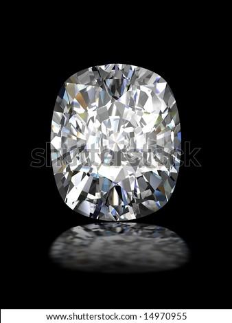 Cushion cut diamond on black