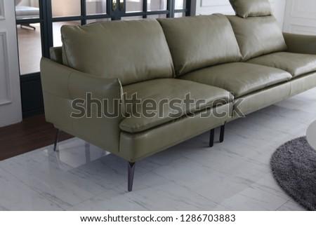 cushioned leather sofa #1286703883