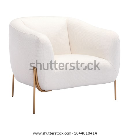Photo of  Cushy Lounge Arm Chair Isolated on White. Wrapped in Ivory Fabric Wingback Armchair. Modern Upholstered Accent Chair Gold Frame. Club Chair with Armrests. Interior Furniture. Living Room Sofa Set
