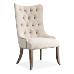Cushy Lounge Tufted Dining Arm Chair Isolated on White. Wrapped in Ivory Fabric Wingback Armchair Nailhead Trim & Button Tufts. Modern Upholstered Accent Chair Rustic Walnut Frame. Interior Furniture
