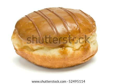 Custard Filled and chocolate covered Doughnut isolated against white background.