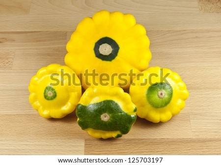 Custard Marrow Squash on cutting board