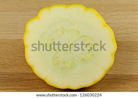 Custard Marrow Squash on cutting board