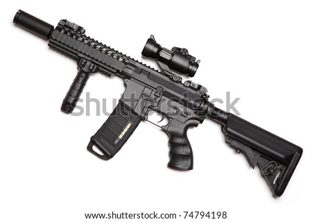 Custom build compact size M4A1 assault carbine with RIS/RAS, tactical handguard, crane stock and red-dot sight. Isolated on a white background. Weapon series.