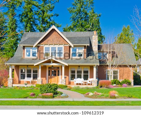 Custom built big luxury house  in a residential neighborhood. Suburbs of Vancouver ( Surrey ) Canada.
