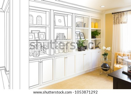 Custom Built-in Shelves and Cabinets Design Drawing Gradating to Finished Photo. #1053871292