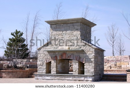 Custom Built Outdoor Fireplace And Barbecue Stock Photo 11400280 ...