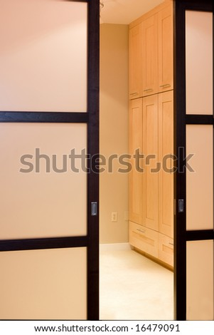 Designer Closet Doors on Custom Built Pocket Closet Doors Stock Photo 16479091   Shutterstock