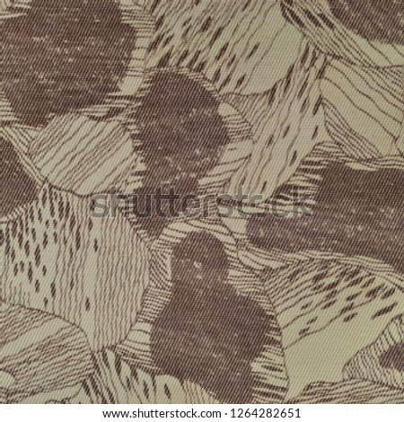 Custom camouflage texture pattern, horizontal pale green tan taupe brown textured camo background, old aged weathered cotton twill fabric field work parka, beige khaki, large detailed macro closeup #1264282651