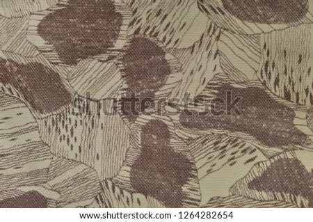 Custom camouflage texture pattern, horizontal pale green tan taupe brown textured camo background, old aged weathered cotton twill fabric field work parka, beige khaki, large detailed macro closeup #1264282654